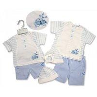 BIS-2099-2217: Baby Boys Beep Beep T-Shirt, Short & Hat Set (NB-6 Months)