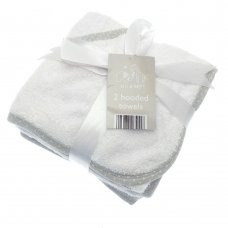 BIT164125: 2 Pack Baby Hooded Towels- White