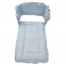 Broderie Anglaise Cot Quilt & Bumper Set: Blue