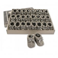 BSS-116-354G: Knitted Baby Bootees with Bow- Grey (0-3 Months)