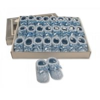 BSS-116-354S: Knitted Baby Bootees with Bow- Sky (0-3 Months)