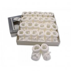 BSS-116-359W: Knitted Tie-Up Baby Bootees - White (0-3 Months)