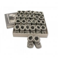 BSS-116-359G: Knitted Tie-Up Baby Bootees - Grey (0-3 Months)