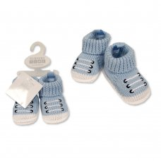 BSS-116-370: Baby Boys Cotton Knitted Booties (0-6 months)