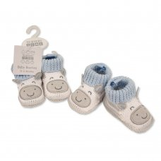 BSS-116-371: Baby Boys Cotton Knitted Booties (0-6 months)