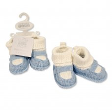 BSS-116-372: Baby Boys Cotton Knitted Booties (0-6 months)