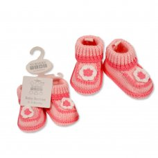 BSS-116-373: Baby Girls Cotton Knitted Booties (0-6 months)