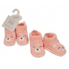 BSS-116-374: Baby Girls Cotton Knitted Booties (0-6 months)