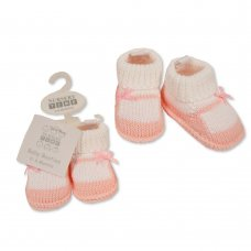 BSS-116-375: Baby Girls Cotton Knitted Booties (0-6 months)