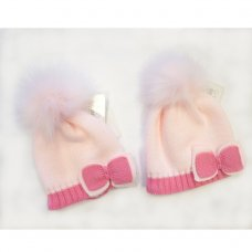 BW-0503-0327P: Baby Girls Pink Cotton Lined Pom-Pom Hat (0-18 Months)