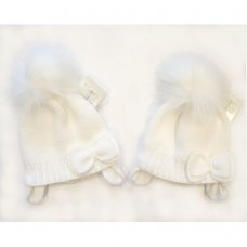 BW-0503-0327W: Baby Girls White Cotton Lined Pom-Pom Hat (0-18 Months)