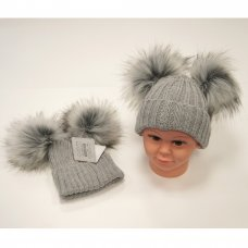 BW-0503-0332G: Baby Grey Double Pom-Pom Cotton Lined Hat (0-12 Months)