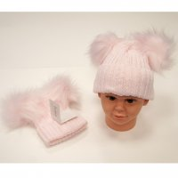 BW-0503-0332P-XL: Baby Pink Double Pom-Pom Hat (1.5- 3 Years)