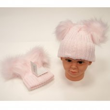 BW-0503-0332P-XL: Baby Pink Double Pom-Pom Hat (18-24 Months)