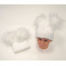BW-0503-0332W: Baby White Double Pom-Pom Cotton Lined Hat (0-12 Months)