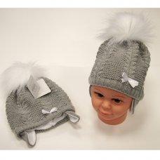 BW-0503-0456G: Baby Girls Pom-Pom Hat with Cotton Lining- Grey (0-18 Months)