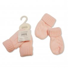 BW-0503-0465P: Baby Knitted Mittens- Pink (0-6 Months)