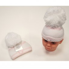 BW-0503-0466P: Baby Girls Large Pom Knitted Hat (0-6 Months)
