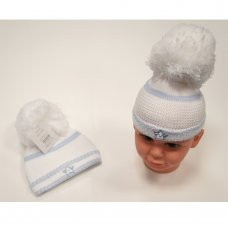 BW-0503-0466S: Baby Boys Large Pom Knitted Hat (0-6 Months)