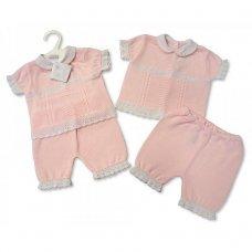 BW-10-705: Baby Girls Knitted 2 Piece Set (NB-6 Months)