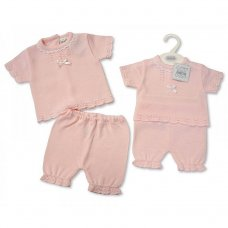 BW-10-707: Baby Girls Knitted 2 Piece Set (NB-6 Months)