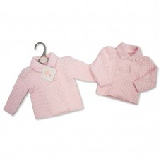 BW-10-792LC: Baby Girls Chunky Knitted Jacket - (NB-9 Months)