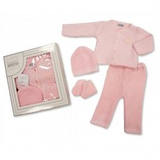 BW-10-826: Knitted Baby Girls Boxed 4 Piece Set (0-3 Months)