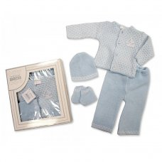 BW-10-827: Knitted Baby Boys Boxed 4 Piece Set (0-3 Months)