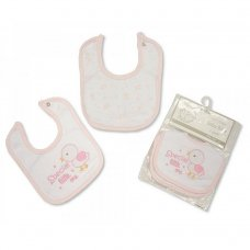 BW-104-728P: Premature Baby Girls 2 Pack Bibs