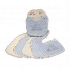 BW-104-756: Baby Terry Bibs 5 Pack - Beep Beep