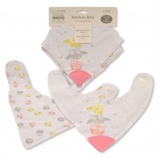 BW-104-758: Baby Girls Cotton 2 Pack Bandana Bibs With Teether - Owl