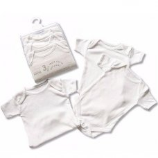 BW-1109-0101: Baby White 3 Pack Short Sleeves Cotton Bodysuit (6-9 Months)