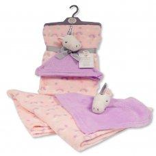 BW-112-1008DIA: Baby Blanket with Unicorn Comforter - Pink