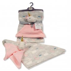 BW-112-1009DIA: Baby Blanket with Unicorn Comforter - Grey