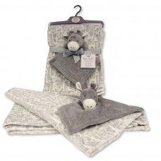 BW-112-1010DIA: Baby Blanket with Giraffe Comforter - Grey