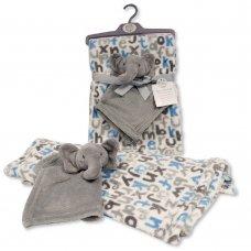 BW-112-1011DIA: Baby Blanket with Elephant Comforter - Grey