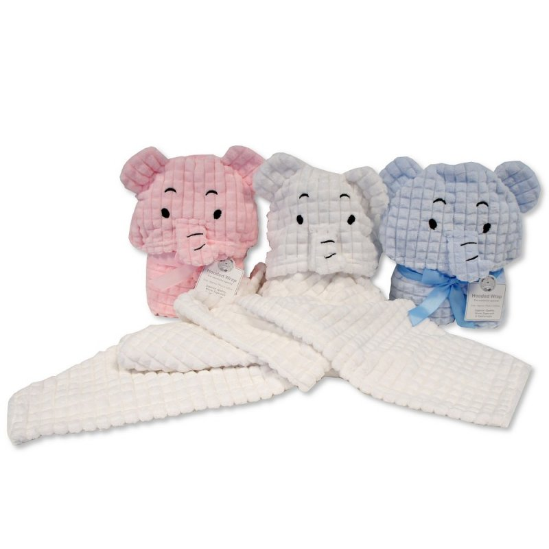 BW-112-1017S: Baby Elephant Hooded Wrap- Sky