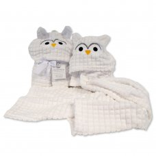 BW-112-1018: Baby Owl Hooded Wrap- White