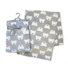 BW-112-988G: Baby Printed Teddy Wrap- Grey