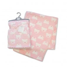 BW-112-988P: Baby Printed Teddy Wrap- Pink