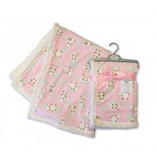 BW-112-990P: Baby Mink Printed Panda Wrap- Pink