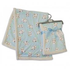BW-112-990S: Baby Mink Printed Panda Wrap- Blue