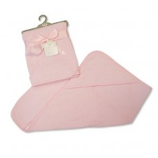 BW-120-104P: Baby Plain Pink Hooded Towel
