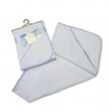 BW-120-104S: Baby Plain Blue Hooded Towel
