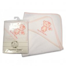 BW-120-106AYB: Baby Girls Hooded Towel - My Little Teddy Bear (75 x 75 cm)