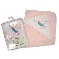 BW-120-109AYB: Baby Girls Hooded Towel - I Love Sailing (75 x 75 cm)