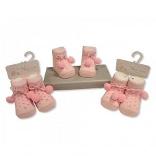 BW-61-2184P: Baby Girls Pom Pom Socks (Newborn)