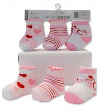 BW-61-2202: Baby Girls 3 Pack Socks (0-6 Months)