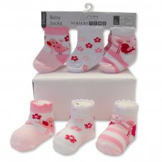 BW-61-2203: Baby Girls 3 Pack Socks (0-6 Months)
