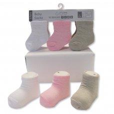 BW-61-2205: Baby Girls 3 Pack Socks (0-6 Months)